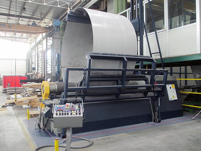 CALANDRE 4 ROULEAUX Dim.40 x 3000mm avec supports latéraux et centraux